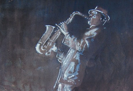 Le vernissage de l'expo Jazz en aquarelle